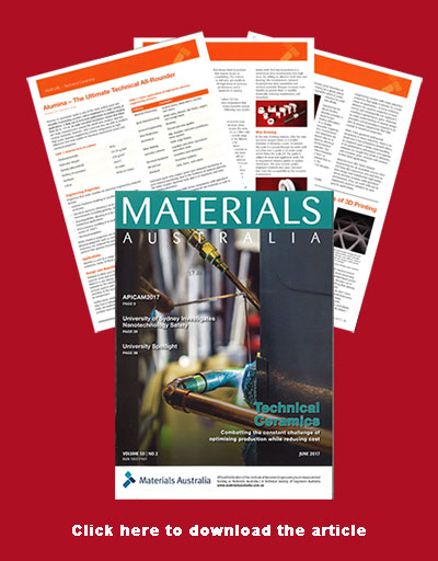 Taylor ceramic Engineering featured in Materials Australia